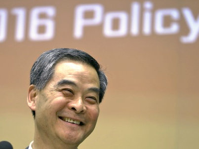 Hong Kong Chief Executive Leung Chun-ying attends the press conference on his 2016 Policy