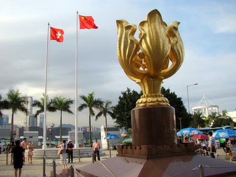 Golden Bauhinia Square, a well-known attraction for China tours visiting Hong Kong.