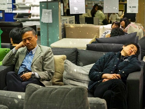Hong Kong working people can sleep in a furniture store.
