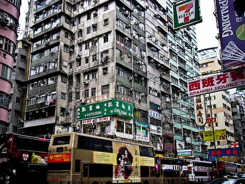 Mong Kok, the most congested shopping and residential district in Hong Kong.