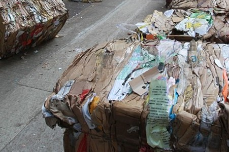 Stacks of waste paper in Hong Kong